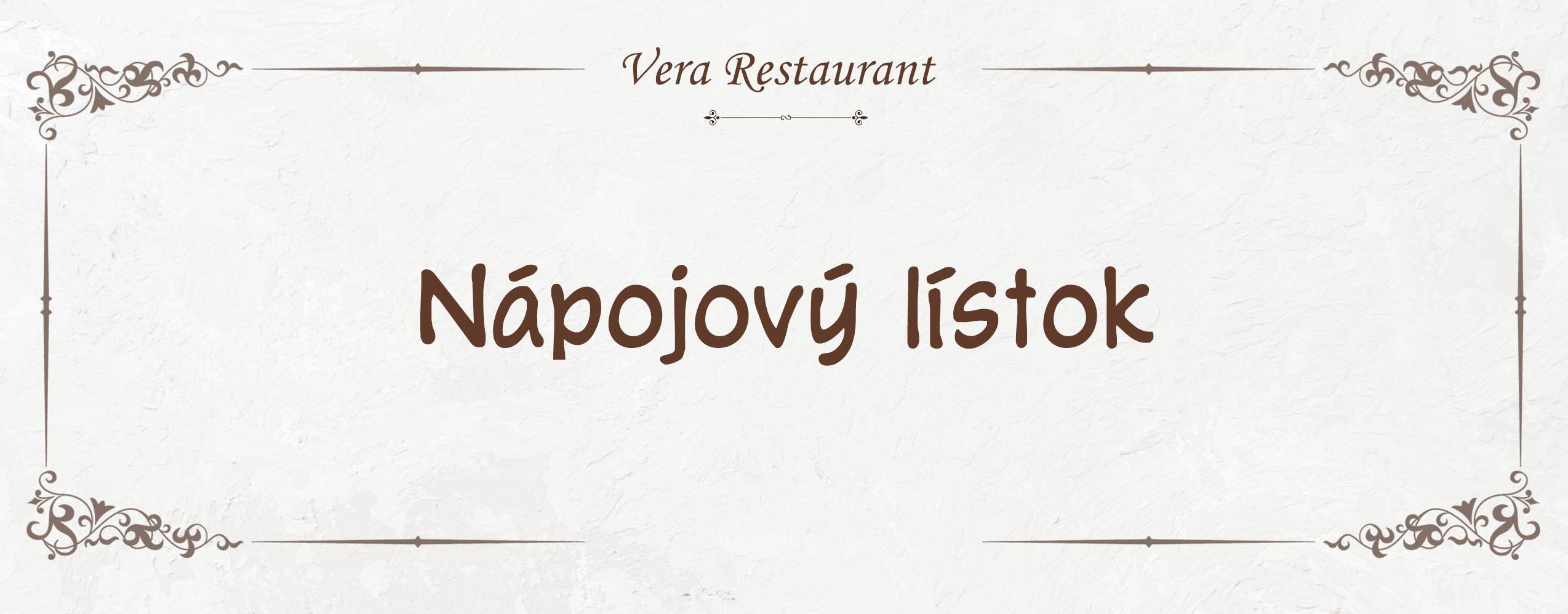 Nápojový lístok Vera Restaurant